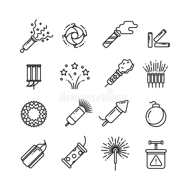 Festivaldynamit, partifyrverkerier, festlig gnista, semestrar den pyrotechnic linjen vektorsymboler stock illustrationer
