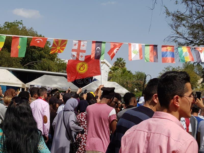 Festivalen, var studenter fr?n hela v?rlden Fotoet visar länderna av Kazahstan, Kirgizistan, Azerbajdzjan arkivfoto