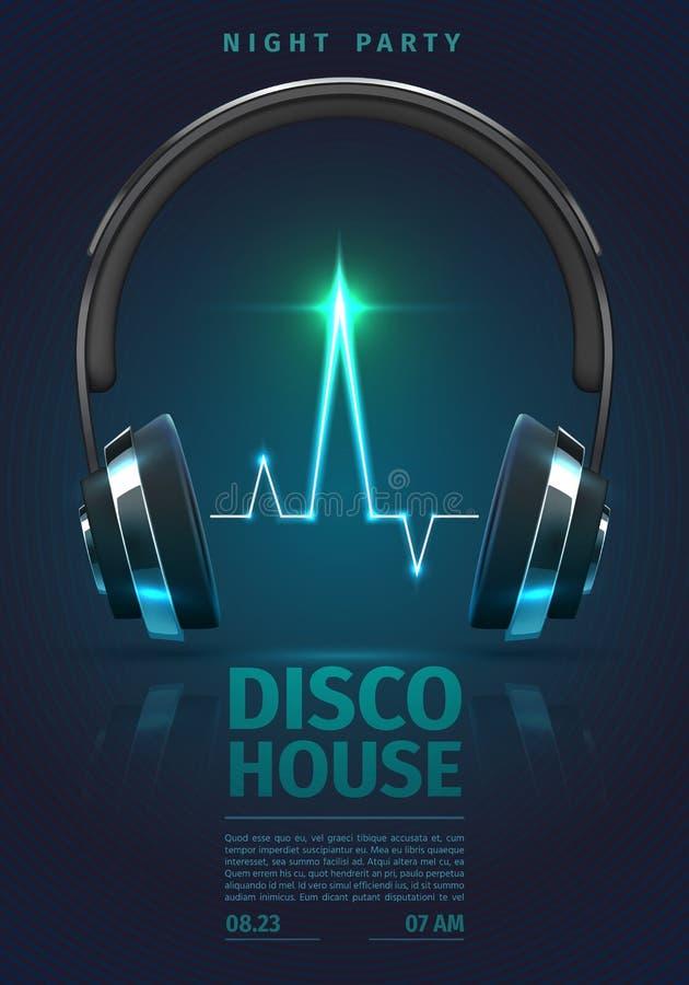 Festivalplakat mit Musikkopfhörern DJ, das Elektropartei mischt, vector Hintergrund lizenzfreie abbildung