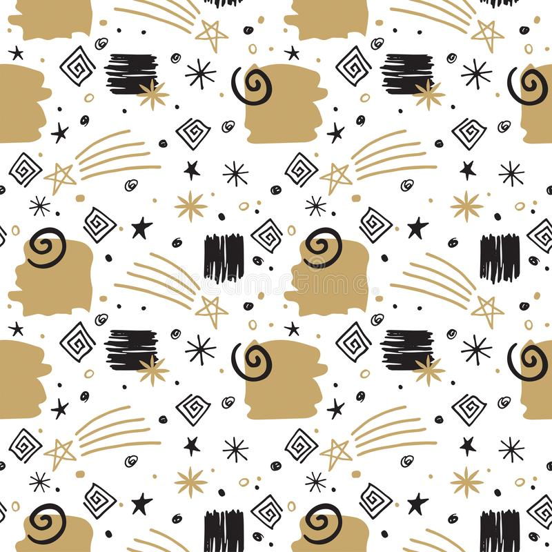 Festivals Doodle Black and Gold Stars and Swirts on White Background Nahtlose Muster stockfotos
