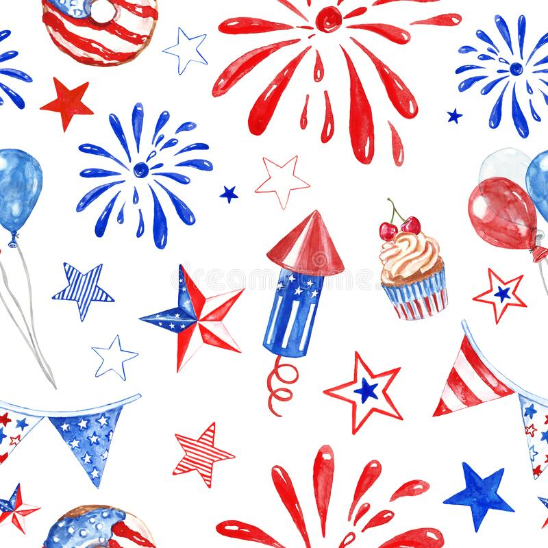 Free Festive 4th Of July USA Seamless Pattern With Watercolor Red, White And Blue Balloons, Fireworks, Stars And Snacks On White Stock Photography - 187259642
