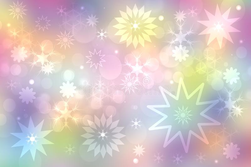 A festive abstract delicate Happy New Year or Christmas background texture with colorful gold yellow pink blurred bokeh lights and royalty free illustration