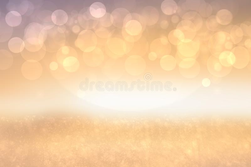 A festive abstract golden pink gradient background texture with glitter defocused sparkle bokeh circles. Card concept for Happy. New Year, party invitation vector illustration