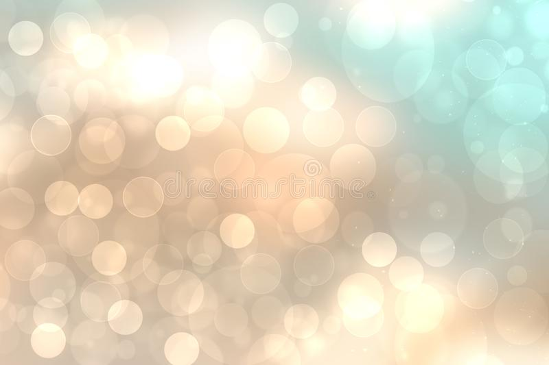 A festive abstract golden turquoise gradient background texture with glitter defocused sparkle bokeh circles. Card concept for stock illustration