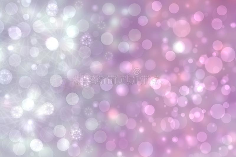 A festive abstract gradient pink gray silver background texture with glitter defocused sparkle bokeh circles and stars. Card stock illustration