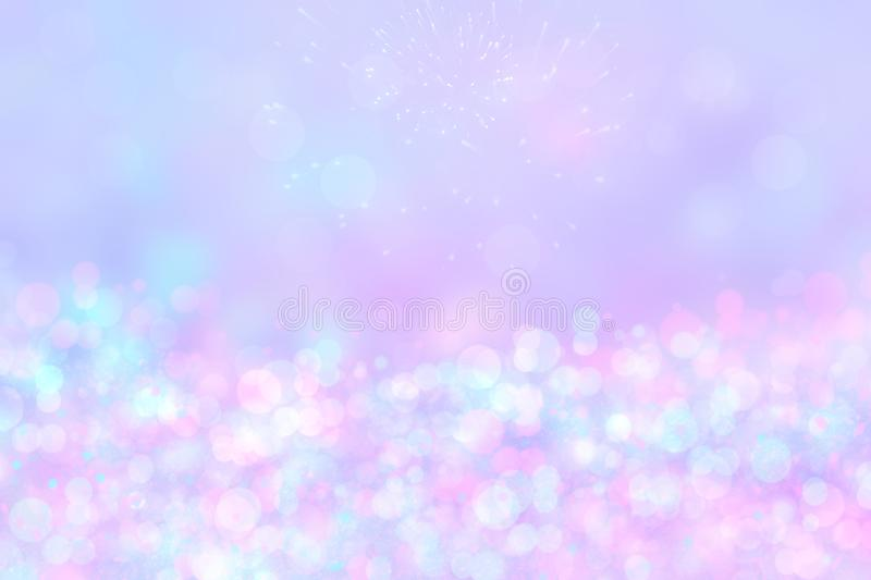 A festive abstract Happy New Year or Christmas texture background and with colorful pink blurred bokeh lights and stars. Space for. Design. Card concept or royalty free stock photography