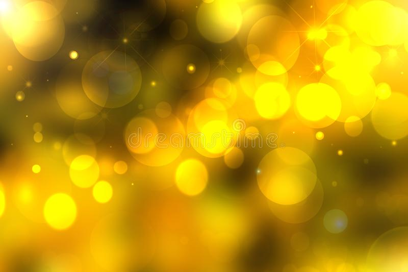 A festive abstract Happy New Year or Christmas texture background and with gold yellow color blurred bokeh lights and stars. Space. For design. Card concept or royalty free illustration