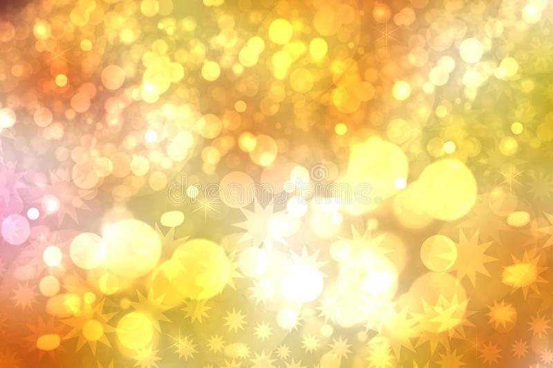 A festive abstract Happy New Year or Christmas texture background and with golden yellow blurred bokeh lights and stars. Space for. Design. Card concept or stock photos
