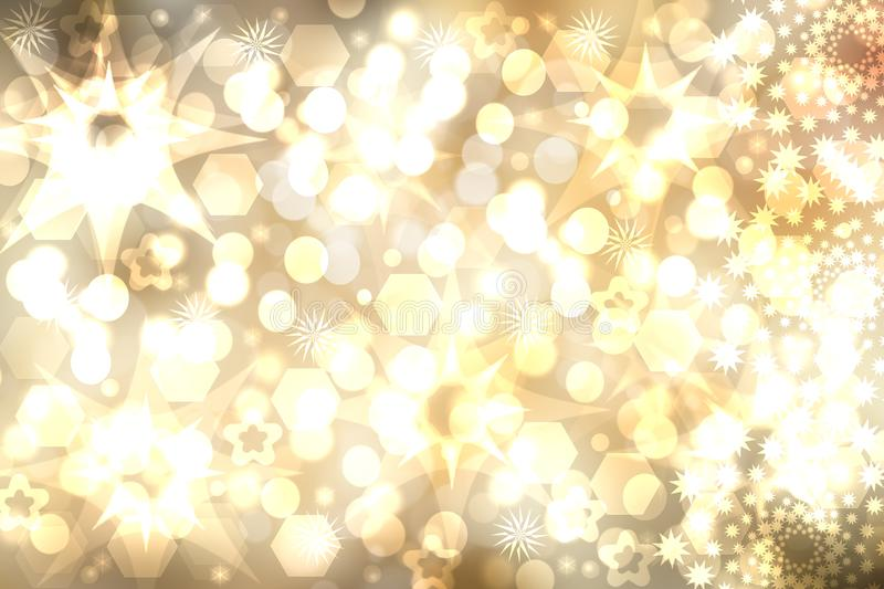 A festive abstract Happy New Year or Christmas texture background and with golden yellow blurred bokeh lights and stars. Space for royalty free illustration