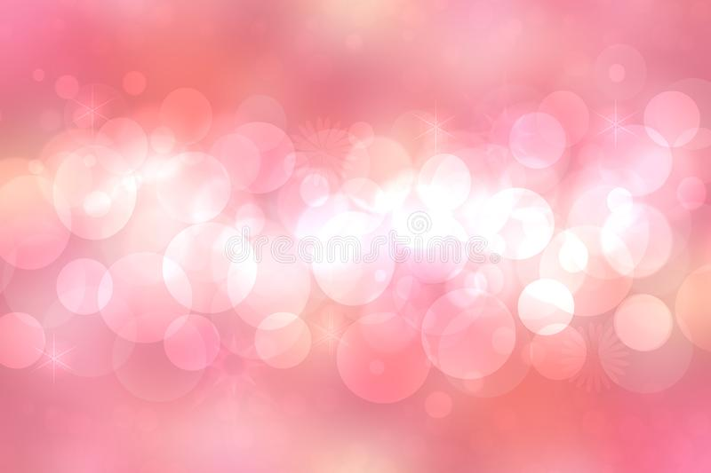 A festive abstract orange pink gradient background texture with glitter defocused sparkle bokeh circles and stars. Card concept stock illustration