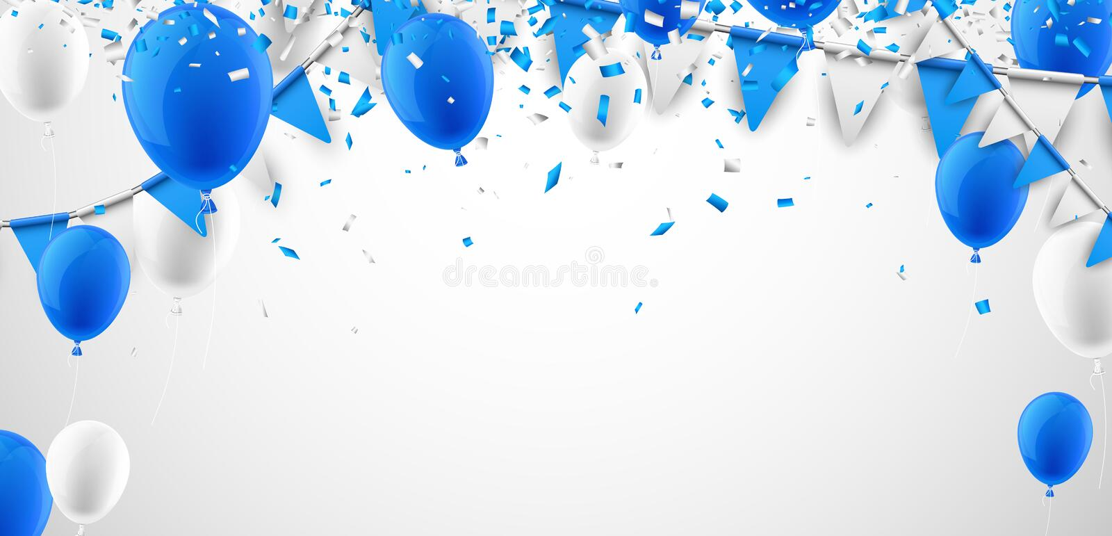 Background with flags and balloons. stock illustration