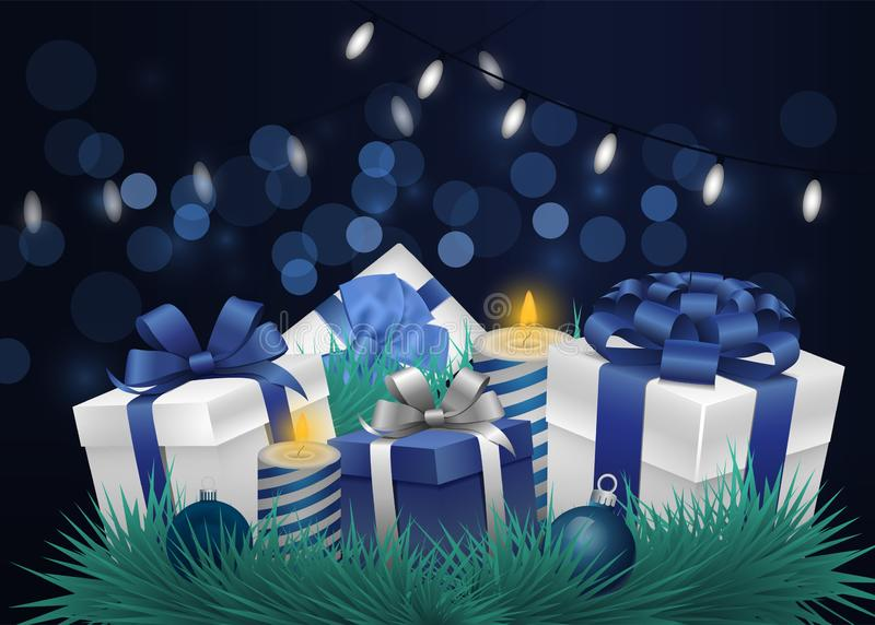 Festive background with bokeh effect and flashlights. New Year or Christmas background stock illustration