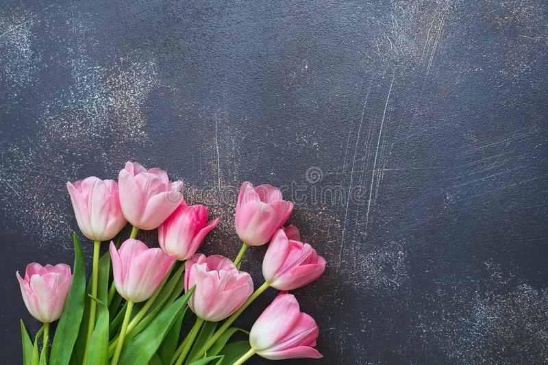 Festive background with bouquet of pink tulips on gray concrete, copy space. Backdrop for cards, invitations and greetings.  royalty free stock images