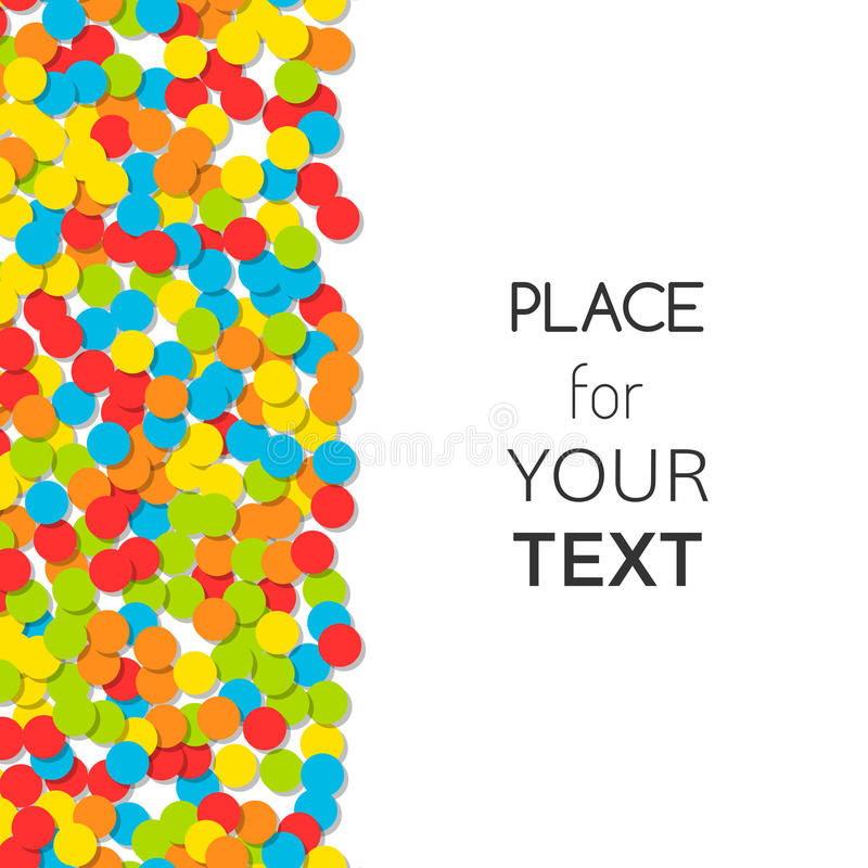 Festive background with colorful confetti and place for text. Vector. Illustration stock illustration