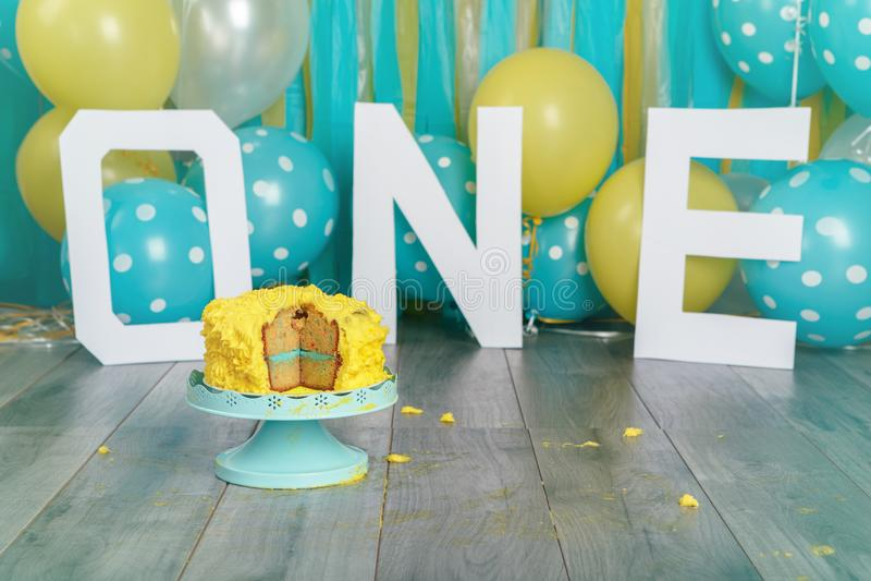 Festive background decoration for birthday celebration with yellow cake stock image