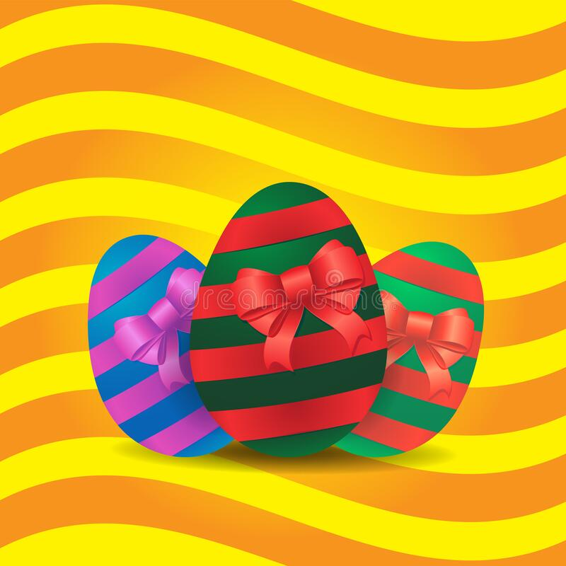 Free Festive Background Easter Egg Ribbon Bow Stripes On Yellow Isolated Background. Vector Image Royalty Free Stock Photos - 175513118