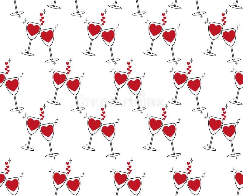 Festive background for family feesten, romantic avond, bruiloft Twee glazen met rode wijn in de vorm van harten in liefde royalty-vrije illustratie