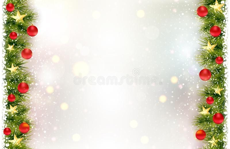 Festive background with fir border, red Christmas baubles royalty free illustration