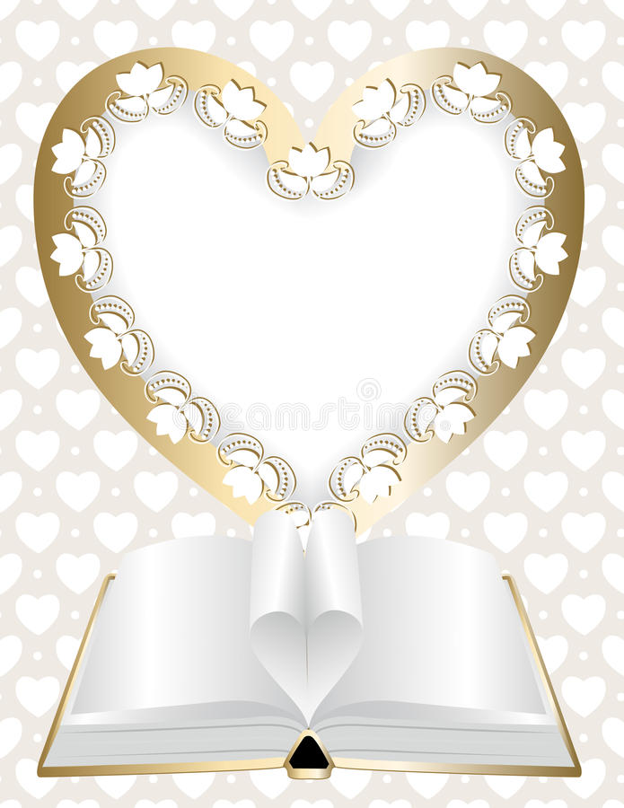 Download Frame In Shape Of Heart And An Open Book Stock Vector - Image: 30086086