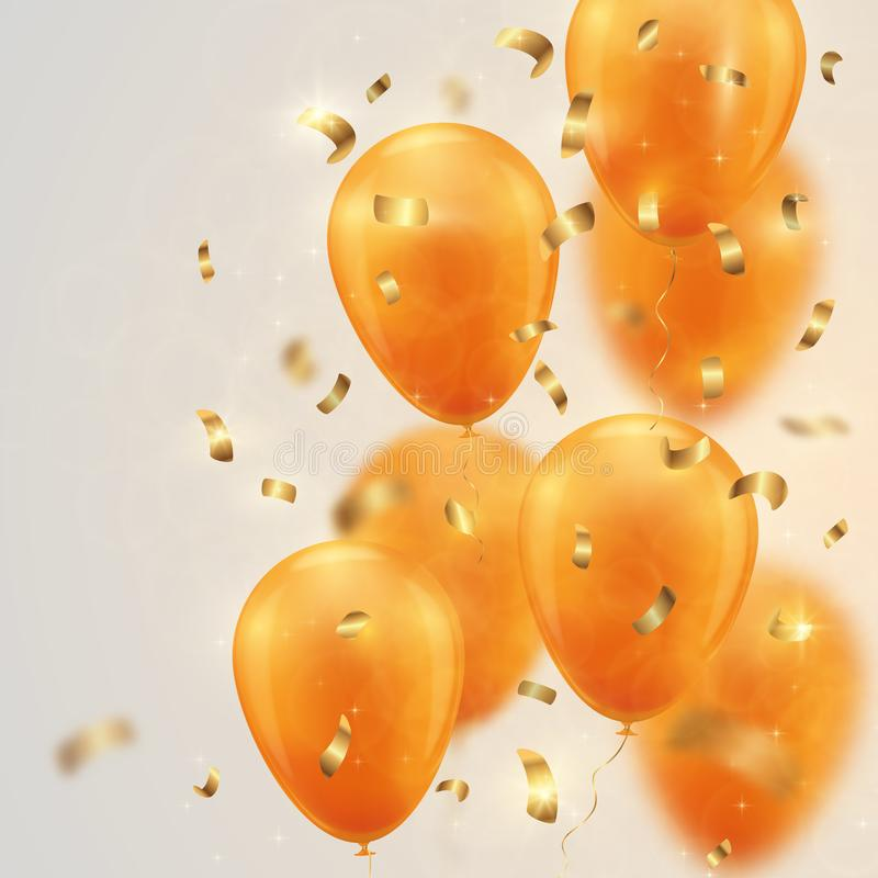 Festive background with gold balloons and confetti. vector illustration