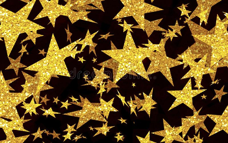Festive background of gold stars, star rain, shooting stars, night, yellow, black, disco, fun, vacation, music, festival, party,. Abstract Art background black royalty free illustration