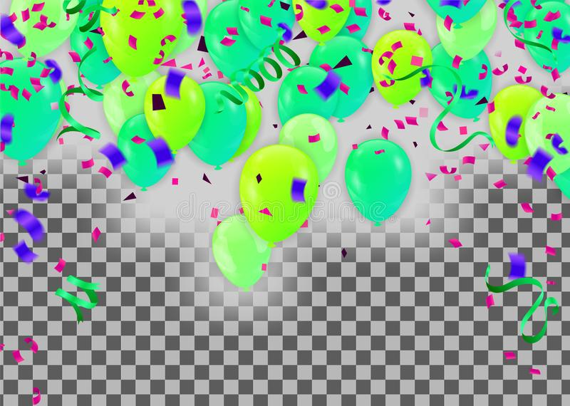 Festive background with green balloons and balloons Many color, Can be used for cards, gifts, invitations sales, web design stock illustration