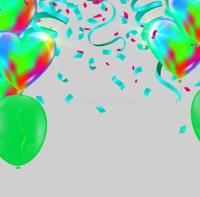 Festive background with green balloons and balloons Many color, Can be used for cards, gifts, invitations sales, web design royalty free illustration