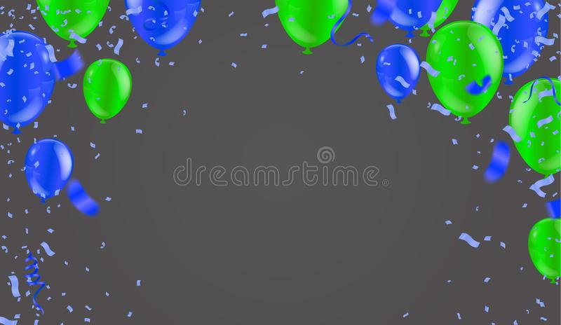 Festive background with green balloons and balloons Many color, Can be used for cards, gifts, invitations sales, web design vector illustration