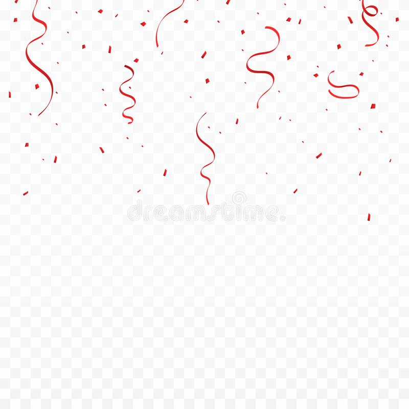 Festive background with red ribbons and confetti. Falling confetti and ribbons isolated on transparent background royalty free illustration