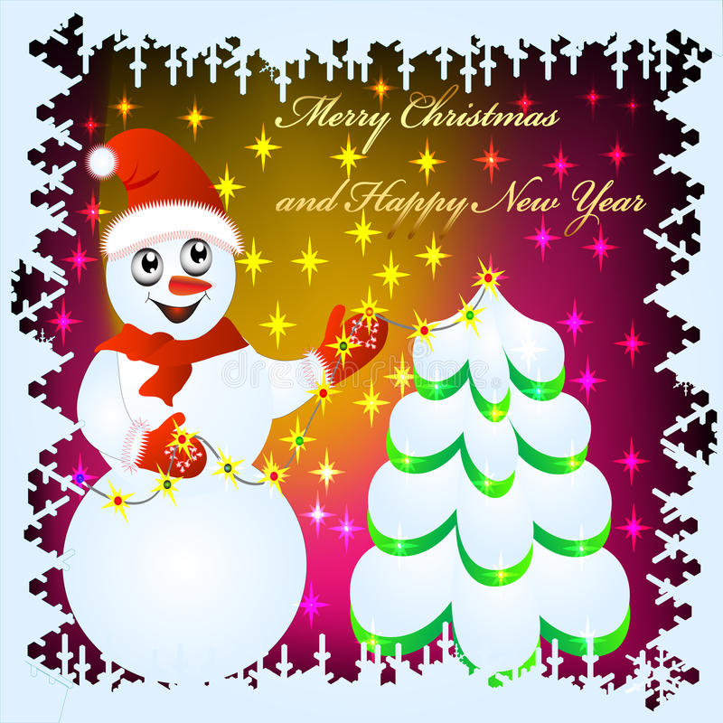 Download Festive Background With Snowman Stock Vector - Illustration: 21727555
