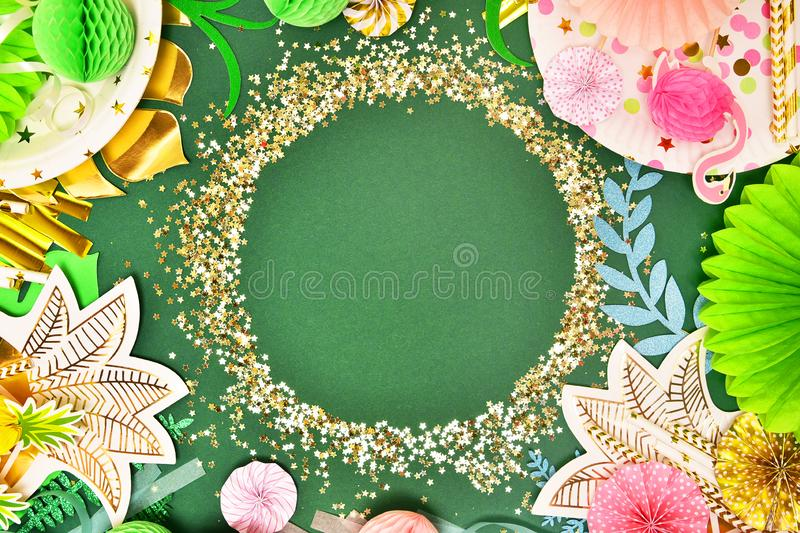 Festive background. Tropical theme. Summer. Hawaii. Party, birthday. View from above. royalty free stock images