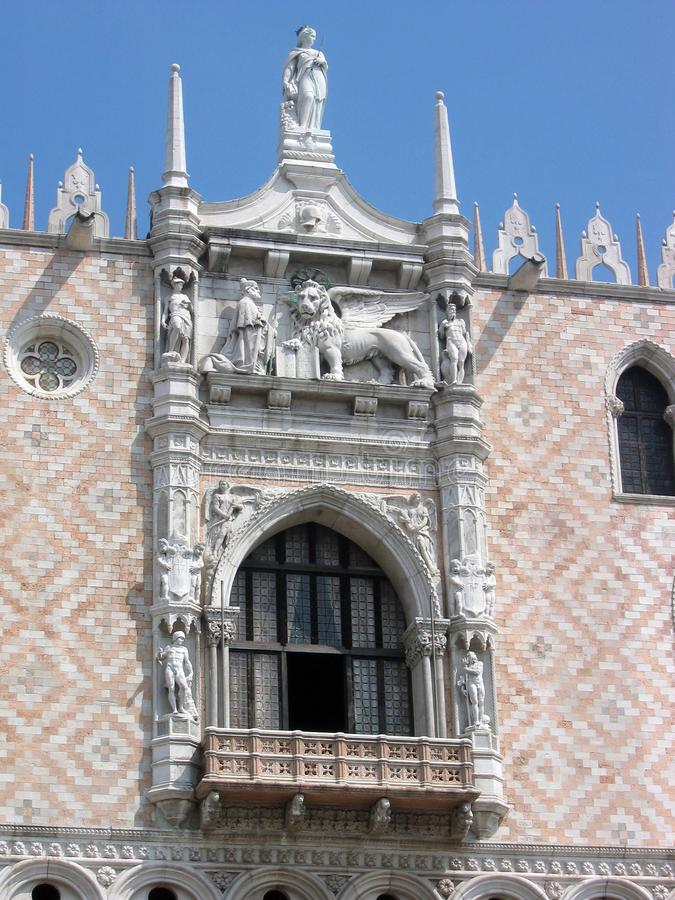 Festive balcony in the Doge`s Palace. Venice, Italy. This came Doge during official statements royalty free stock photo