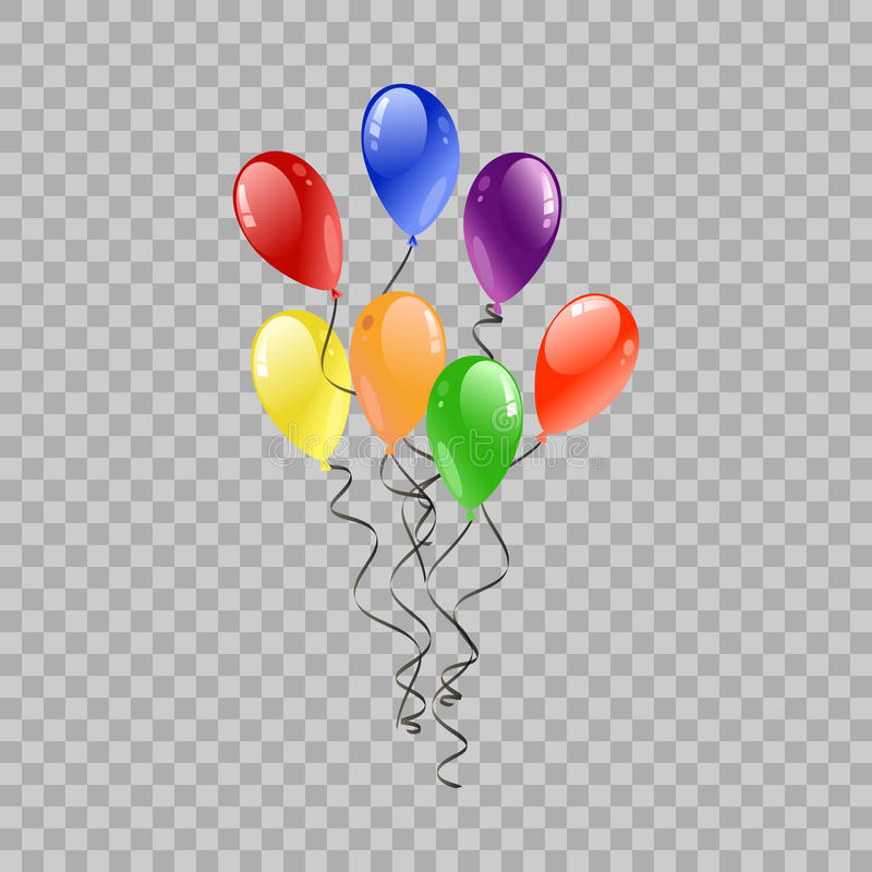 Festive Balloons Flying for Party and Celebrations on transparent Background. Colorful realistic helium balloons. Party decoration stock illustration