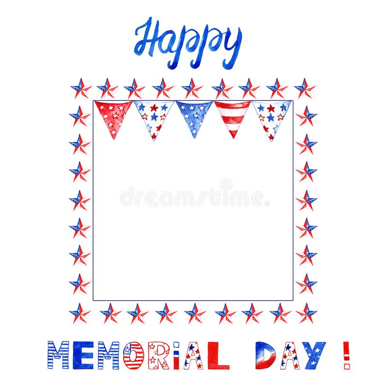 Festive banner for memorial day or 4th of july holiday. Square frame with red, blue and white stars and flags on white background vector illustration