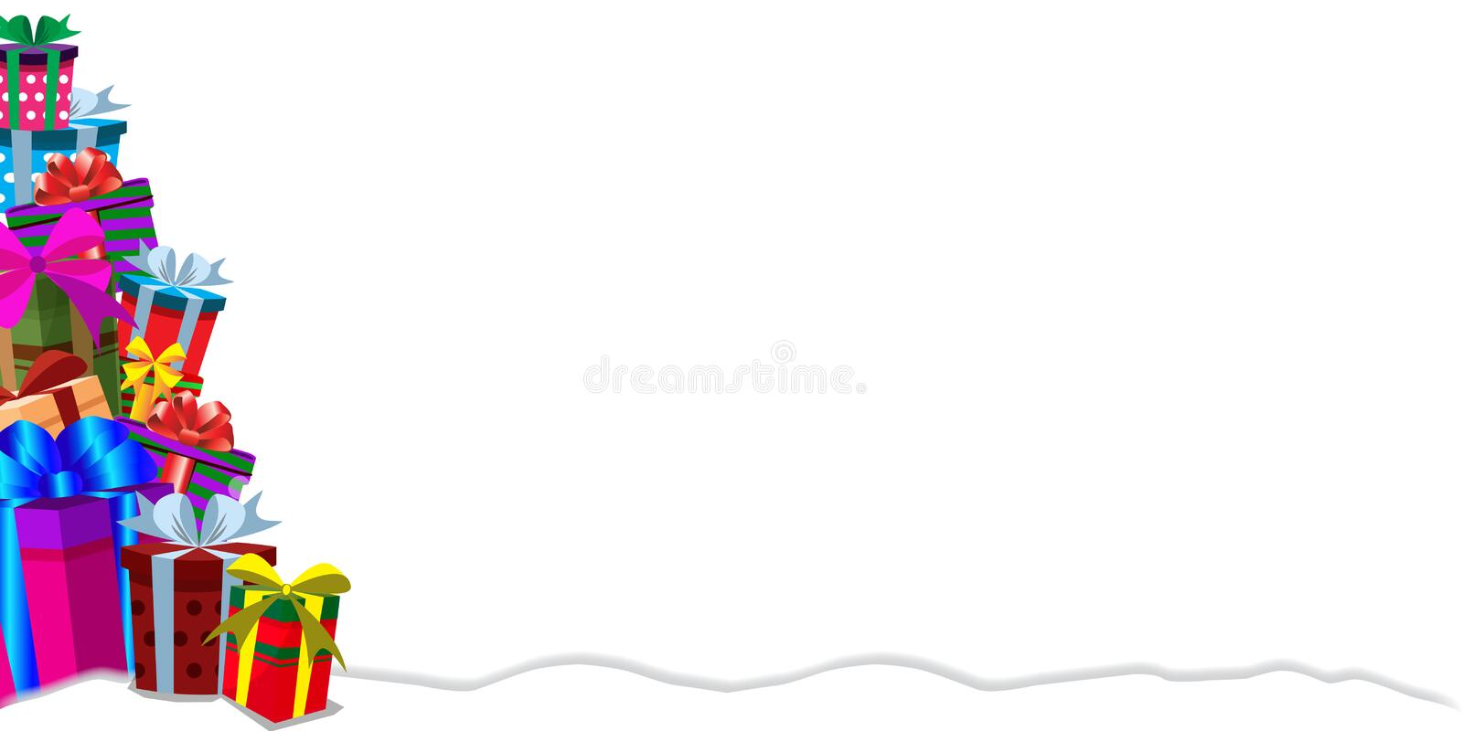 Festive banner template with heap of gifts on snow with copy space. Festive holiday background with gifts in traditional holiday style. Christmas, new year royalty free illustration