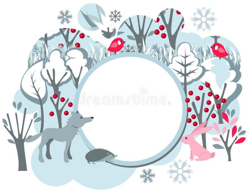 Festive banner with wild animals vector illustration