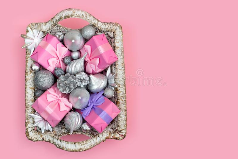 Festive basket with gifts and toys for Christmas Decorative items boxes decoration for the holiday royalty free stock photos