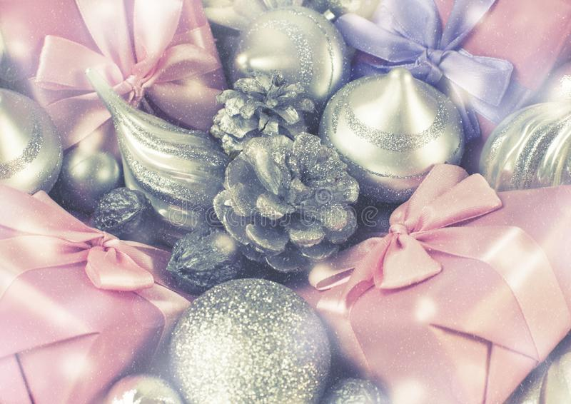 Festive basket with gifts and toys for Christmas Decorative items boxes decoration for the holiday royalty free stock photography