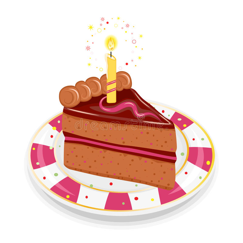 Festive birthday cake with candle royalty free illustration