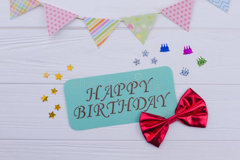 Festive Birthday party background with decorations. stock photos