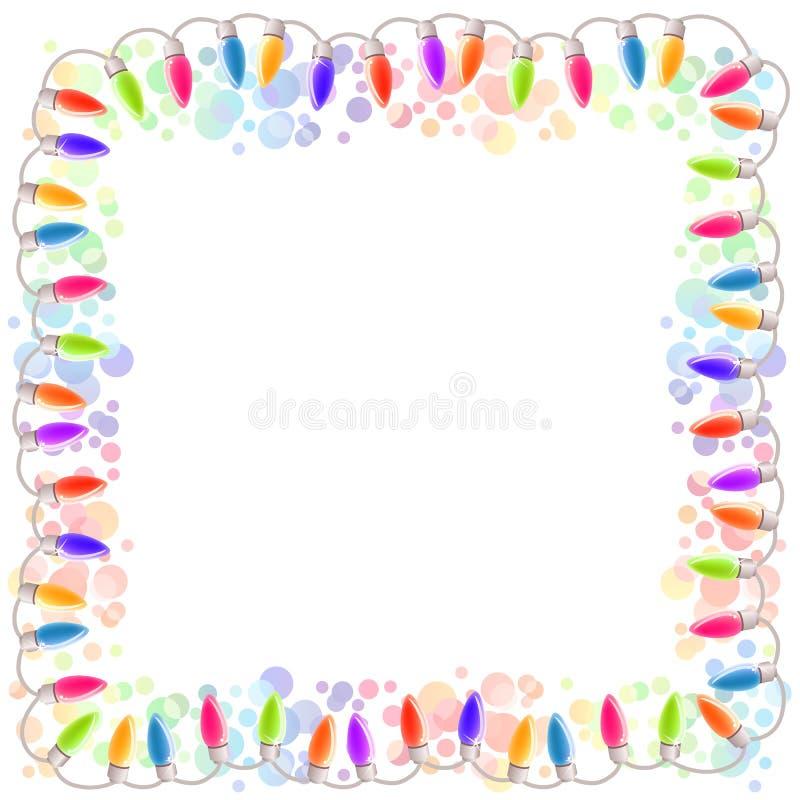 Festive blank frame with garland vector illustration