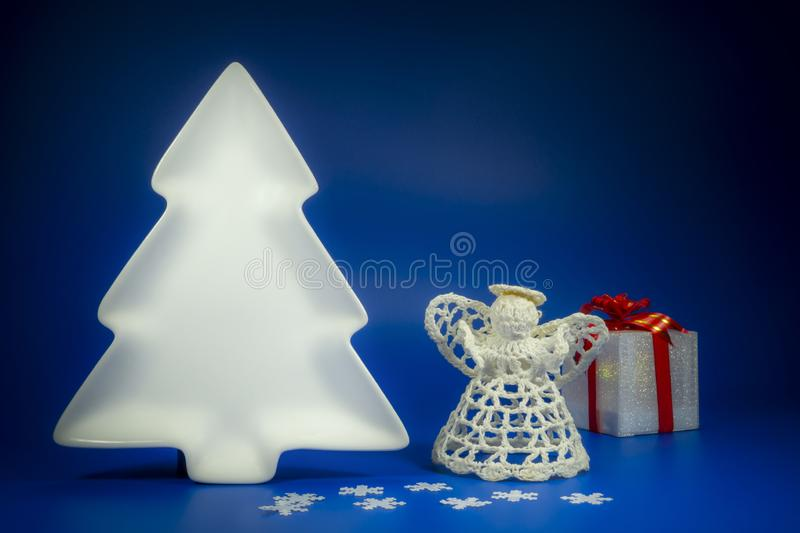 Festive blue Christmas still life with gifts royalty free stock images