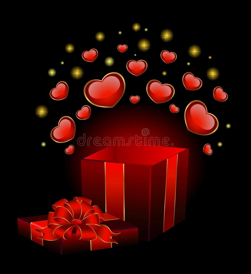 Festive Box With Hearts Royalty Free Stock Images
