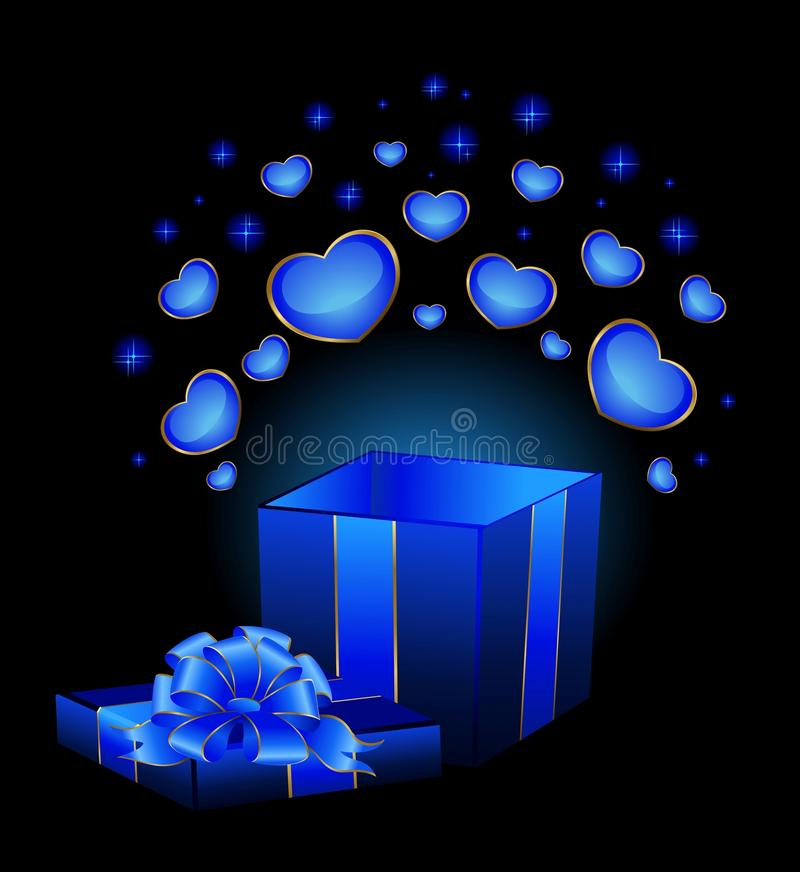 Download Festive box with hearts stock vector. Image of illustration - 12533543