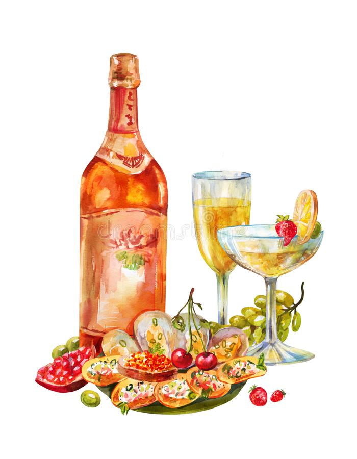 Vintage watercolor illustration with champagne or wine. Two glasses, fruits, seafood and the bottle isolated. Festive buffet with wine, champagne, fruit and stock illustration