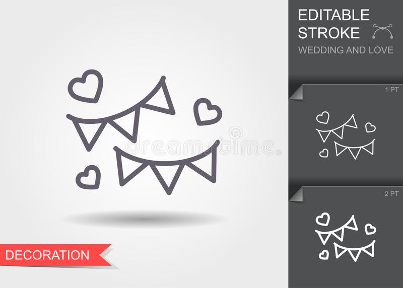 Festive bunting flags. Holiday decorations. Line icon with shadow and editable stroke stock illustration