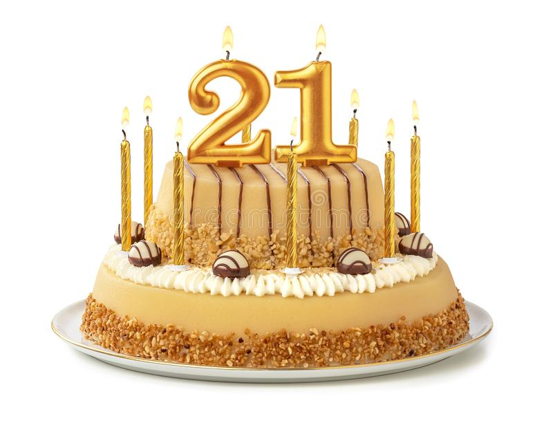 Festive cake with golden candles - Number 21 royalty free stock photography