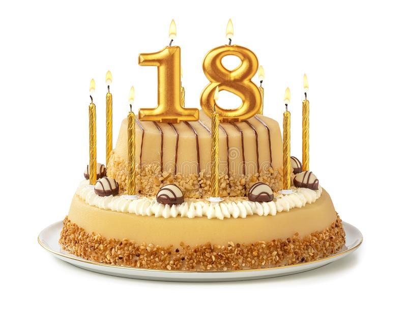 Terrific Festive Cake With Golden Candles Number 18 Stock Photo Image Personalised Birthday Cards Rectzonderlifede