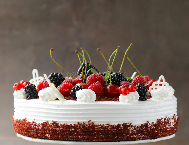 Download Festive Cake Red Velvet Decorated With Berries Stock Image