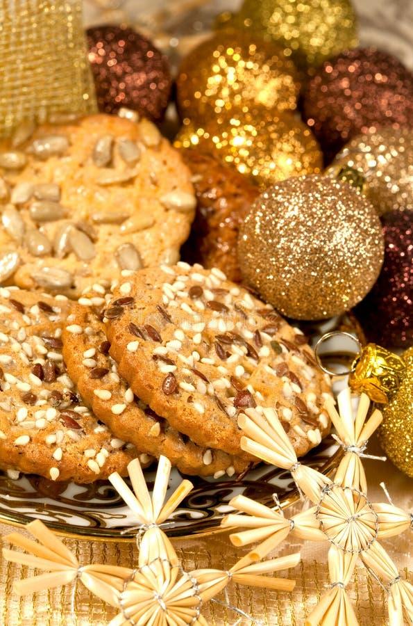Festive cakes and Christmas decor stock photo